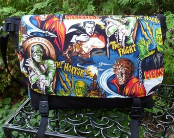 Movie Monsters messenger bag, diaper bag, project bag, Lynx Deluxe