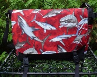 Sharks messenger bag, diaper bag, project bag, cross body bag, sharks on red, Lynx Deluxe