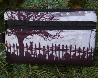 Graveyard mini wallet, purse organizer, wristlet, iPhone wallet, Cat's Graveyard, Sweet Pea