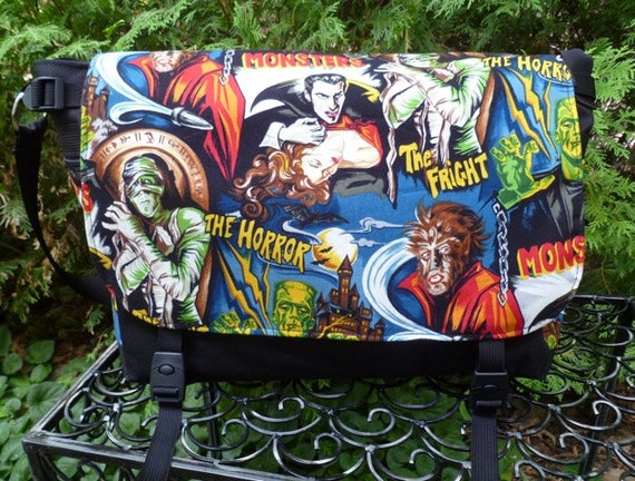 Movie Monsters messenger bag, diaper bag, project bag, Lynx Deluxe