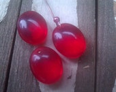 Vintage Glass Bead. Drop. Cherry Red. One.