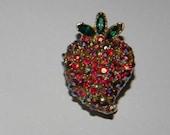 Vintage Red AB Rhinestone Strawberry Brooch Pin pave set