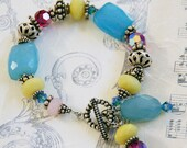 Colorful Chalcedony Swarovski Sterling Bracelet