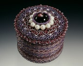 Beadwoven/ Beaded Jewelry Box . Genuine Pearls . Purple Lavender Amethyst Lilac . Bead Lace  - Romantic Keepsakes by enchantedbeads on Etsy