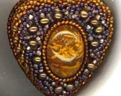 Beadwoven Heart Brooch . Valentine's Day . Caramel Chrysanthemum Agate . Genuine Pearls . Ombre - Chocolate Heart by enchantedbeads on Etsy