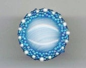 Sky Blue Beadwoven Ring . OOAK Adjustable Ring . Genuine Pearls . Sterling Silver Setting - Fantastic Blue Sky by enchantedbeads on Etsy