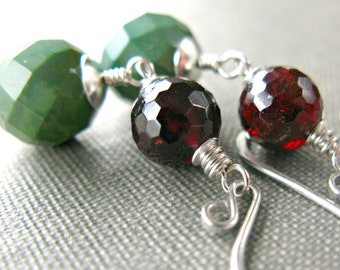 Garnet Turquoise Stone Earrings Stone Red Green Sterling Silver January December Birthstone ..... Chutney .....