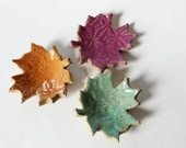 Colorful Ceramic Leaves for Decorating or Ring Catchers Glazed in  Green, Orange and Violet