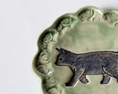 Walking Cat Stamped Ring Dish // Glazed in Green and Grey
