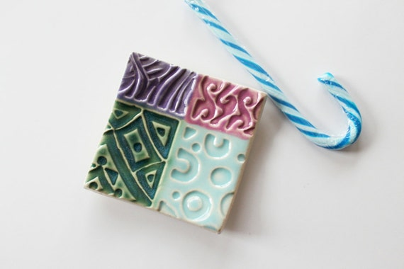 Square Ring Dish Clay Patchwork Design, Great Stocking Stuffer