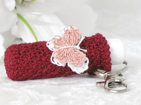 Lip Balm Holder, Keychain Key Holder in Raspberry with Crochet White & Mauve Butterfly