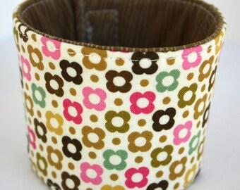 Coffee Cozy - Pink & Brown Retro Floral - Reversible