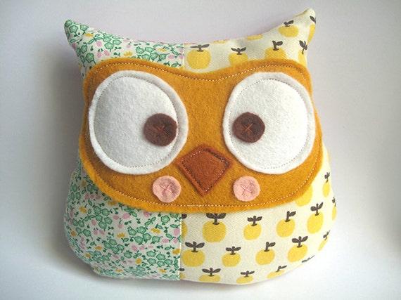 Owl patchwork plush toy
