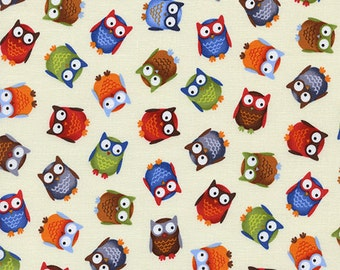 Timeless Treasures, Bright Eyed and Bushy Tailed Tossed Owls Cream Fabric - Half Yard