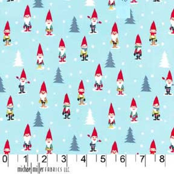 NEW Michael Miller Many Mini Gnomes Blue Fabric - By the Yard