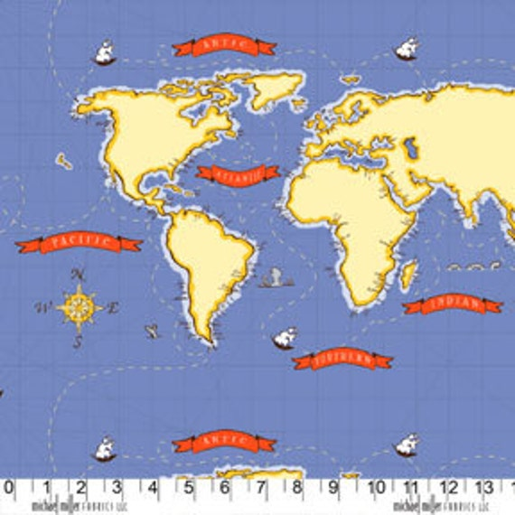 Sarah Jane, Out To Sea, Nautical Map Boy Fabric - By the Yard