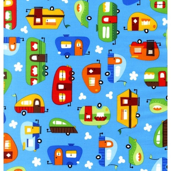 NEW Robert Kaufman, Caleb Gray, Out N' About, Trailers Primary Blue Fabric - By the Yard