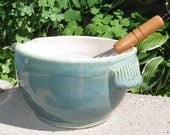Batter Bowl with Handle and Wire Whisk in Cream and Green