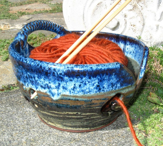 Yarn Bowl Knitting Crochet in Earthy Browns and Blues