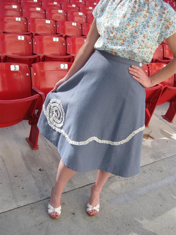 Wool Skirt 1940s Style With Lace Trim CUSTOM SIZES AVAILABLE