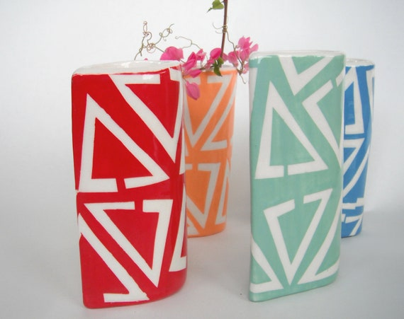 Red Triangle Vases - ready to ship