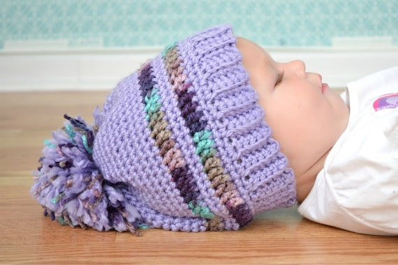 Crochet Pattern for a Purple Pom Pom Hat for Toddlers and