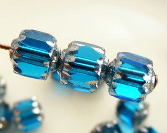 6mm Cathedral Beads Czech Glass Fire Polish Aqua with Silver (Qty 10) SRB-6FPC-AQ-S