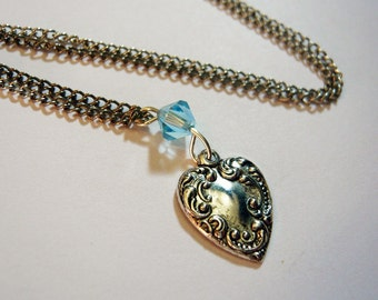 Silver Heart and Blue Charm Necklace