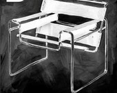 Breuer  Chair Print  - from the Modern Design Deck Chalkboard series  - mid century modern - 24 x 30 inch wheatpaste paper print