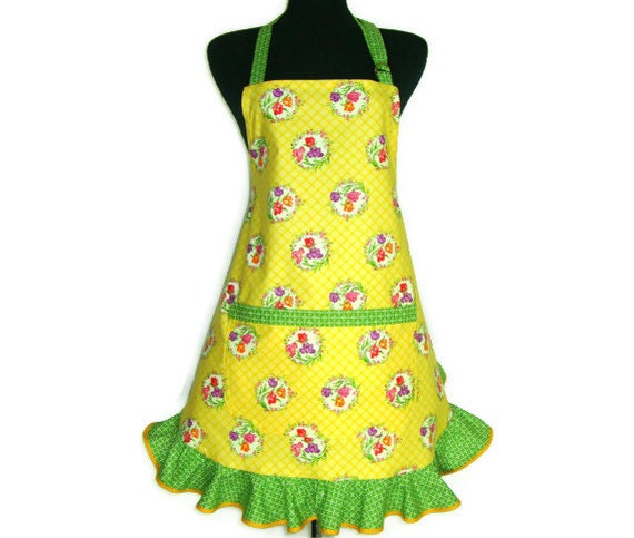 Floral Kitchen Apron, Tulips on Yellow, Retro Hostess Style with Ruffle