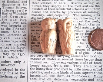 Pair of Handcarved Ox Bone Owl Beads with Detailed Carving