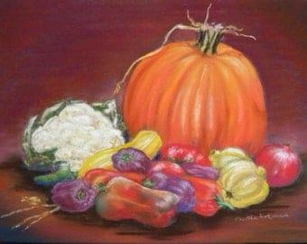 Still Life with Pumpkin - Original Pastel - OOAK