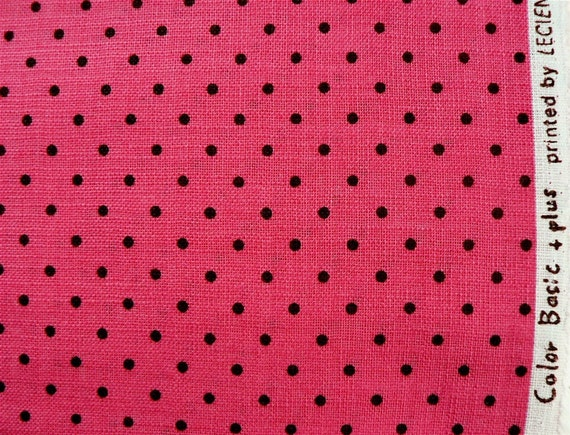 Japanese Fabric Lecien Color Basic Plus Dots Small Fat Quarter - chocolate brown on bright pink