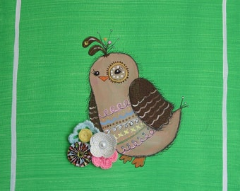 Original QUAIL painting NURSERY ART Collage Baby Shower Gift