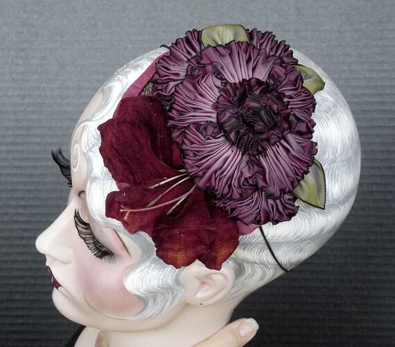 Aubergine Ribbon Flower Headpiece Fascinator On Sale