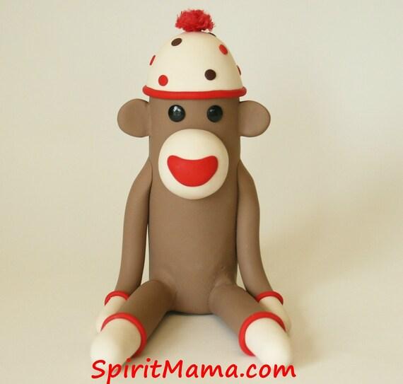 Sock Monkey Birthday Cake Topper 4.5 inch Fondant Style (polymer clay)