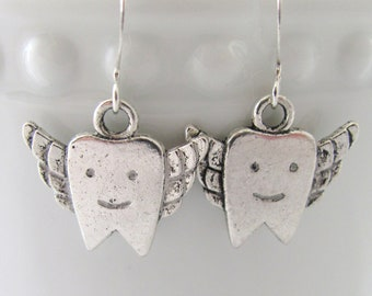 SALE Tooth Fairy Tooth with Wings Earrings Gift for Dentist Orthodontist Hygienist Healthcare Smile Teeth