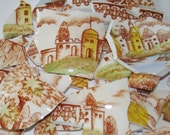 Handmade Supplies Mosaic Tiles Vintage Brown Transferware w Castles, Church,Houses, Lake, Trees Broken Plate Pieces