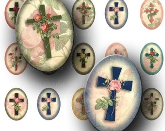 INSTANT DOWNLOAD Floral Crosses Digital Collage Sheet Cross Jesus Religious Inspirational Medium Ovals 18 x 25 mm for Pendants Crafts (O57)