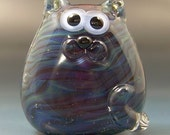 Moody Blues Kitty Cat Handmade Lampwork Glass Focal Bead SRA Gelly