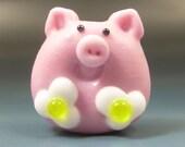 Handmade Lampwork Glass Focal Bead SRA Gelly Flat Pig BACON and EGGS