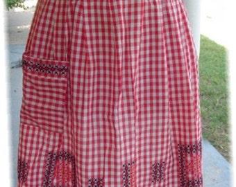 Red Vintage Apron half style gingham cross stitch embroidery kitchen hostess L pocket