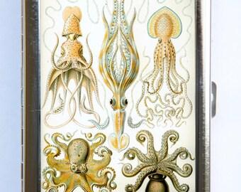 Octopus Squid Cigarette Case Wallet Business Card Holder sea creaures STEAMPUNK gothic nautical