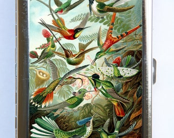 Humming Birds Cigarette Case Wallet Business Card Holder flowers birds nature
