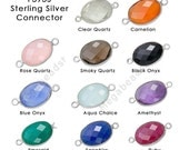 20mm x 11mm Bezel Gemstone Wrapped Oval Connector Sterling Silver F393S- 20 pcs Choose your color