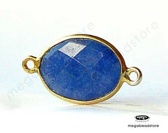 2 pcs 14mm x 10mm Sapphire (Dyed) Blue Bezel Gold Gemstone Pendant Connector Wrapped F393