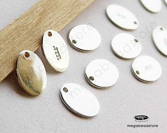 20 pcs Small Tag Sterling Silver Blank Disc High Polished 7.3 x 5.5mm F399