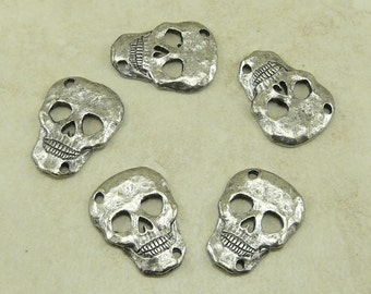5 Skull Link Charms Day of the Dead Links - Connector Skeleton Goth Gothic Dead Death - Raw Lead Free Pewter - I ship Internationally