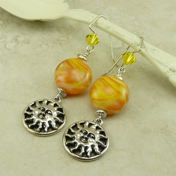 Walking on Sunshine Lampwork Bead Earrings > Bright Vibrant Yellow Sun - Sterling Silver French Ear Wires