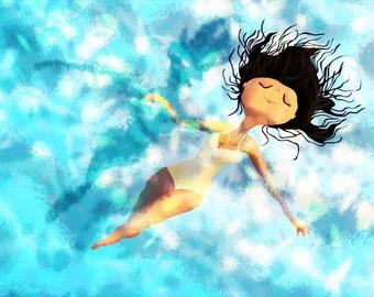 "Swimmer Art, Summer Painting, Swimming - ""Serenity"""